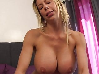 Spear milking Lesson with a beautiful cougar in yoga cami