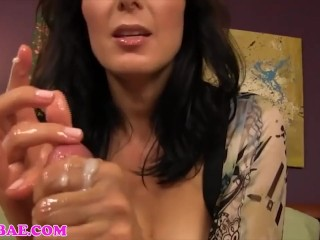 Big-chested sizzling cougar step-mother HANDJOBS sonny