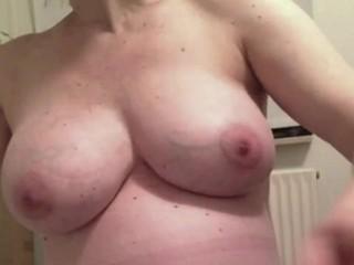 Prego Danish wifey unwrapping showcasing her swollen bra-stuffers