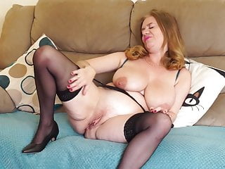 Big-chested inborn mature mommy with greedy aged vulva