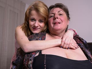 2 super-naughty elder and youthful lesbos in action