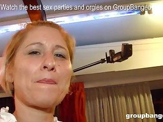 Three German mature cocksluts love a plenty of of rods at gang-bang