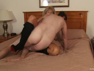 Big-chested unexperienced milf smashing her junior beau