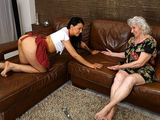 Wooly grandma getting licked by a sizzling young lesbian babe