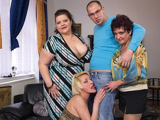 Three mature dolls ravaging and blowing a toyboy