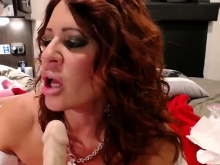 Messy chat sir mother with good-sized congenital hooters drizzling