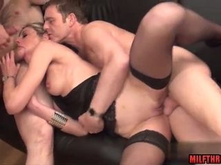 Super-naughty honey housewife dual plow with facial cumshot