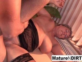 'BBW takes a geyser on her hefty tits'