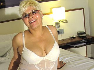 Platinum-blonde mature bi-atch frolicking with her immense faux manmeat