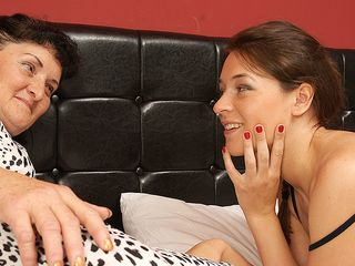 Sizzling hairy young lezzie having supreme fun with her elderly girlfriend
