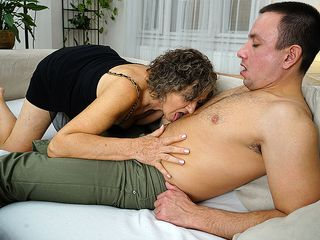 Horny mature dame toying with her toyboy
