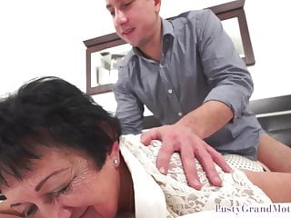 European grandmother gets fondled and pussyfucked