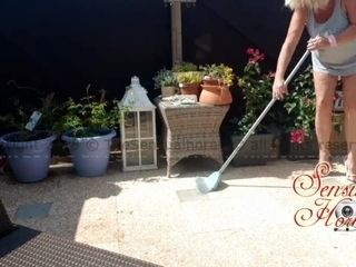 Cleaning my Terrace in High high-heeled shoes, completed up all bare ;-) bootylicious Mature!