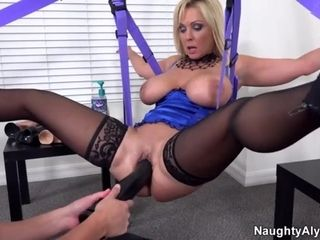 Buxom Alysha gobbles her own globes before playing beaver