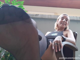 'JOI sole worship - Liana Serpenta orders you to stroke your dick displaying her ebony nylon soles'