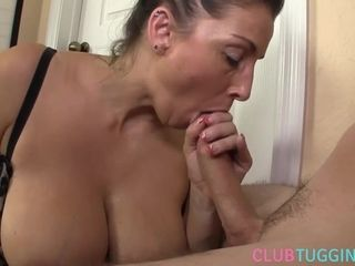 Busty milf jerking and sucking hard cock