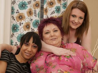 Trio elderly and young lesbians making each other raw