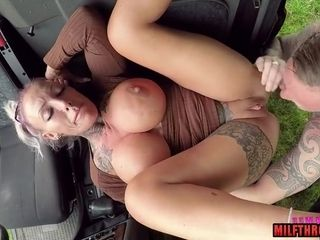 Tatted fledgling cougar Has camper fuckfest