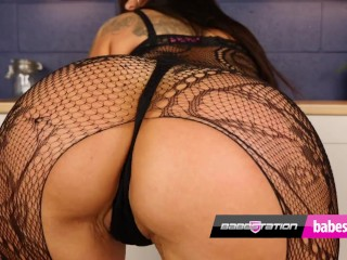 'Babestation dark haired Athena Rose and her thick ass'