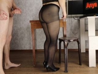 'She taunted me with stockings and got a massive stream on nylon twat - Anya Queen'