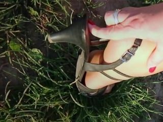 Outdoor foot fetish action with mom nylon feet 2
