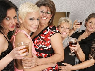 Five insatiable old and youthful lesbians make it sensational for Christmas
