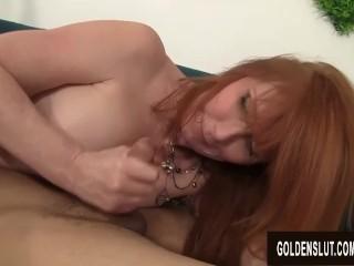 Insane elderly cockslut Freya Fantasia bj's and plumbs a youthfull boy