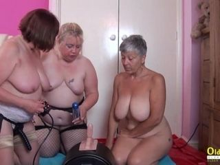 'OldNannY trio brit Matures and hump Machine'