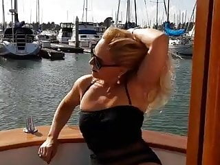 Bad granny super hot bikini on petite boat