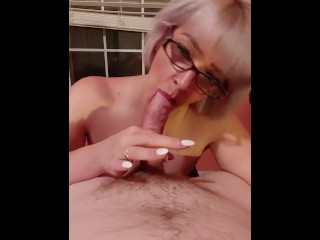 First-timer blondie with glasses suck off & facial cumshot