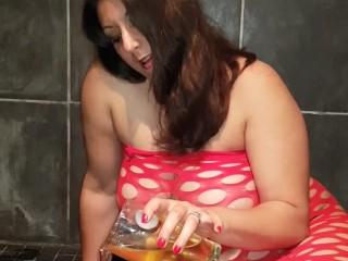 'Femdom urinate gulping gulp all my urinate'