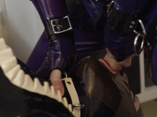 'Miss Maskerade spandex duo dt and restrain bondage in total protection with tormentor and slave'