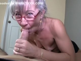 Mature with lil' mammories receives facial cumshot