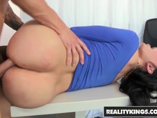 Reality Kings - messy thick knocker professor Amy Anderssen, gets pulverized by college girl