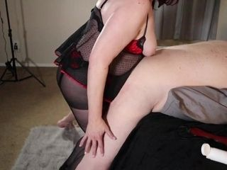'Mistress pegging her first time in the butt with wire on fuck stick, paddling smacking cumshot'