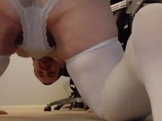 Dressed in my wifes's undies and milking Part8