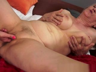 Huge-boobed Lez grandmother finger-banged leisurely By honey