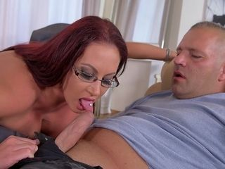 Huge-titted cougar deep throats pulsating man-meat