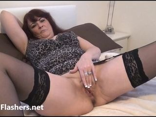 Granny voyeur amateur masturbates and shows off old pussy to ###pers with mature exhibitionist wif.